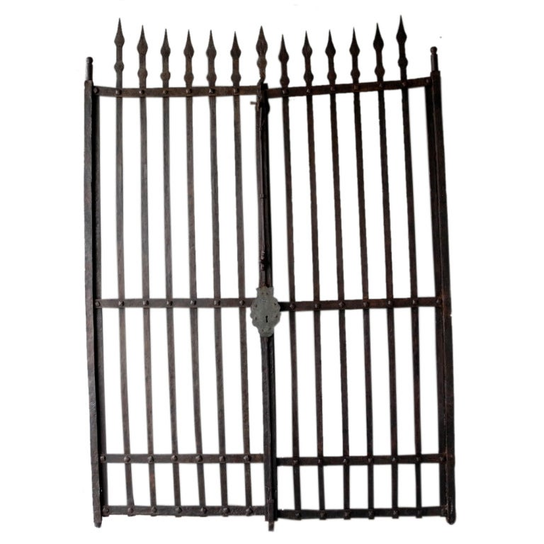 Pair of Grand Antique 17th Century Iron Gates