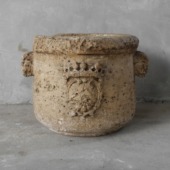 Carved Stone Crown : Early th c quot vasque en pierre with carved crown at stdibs