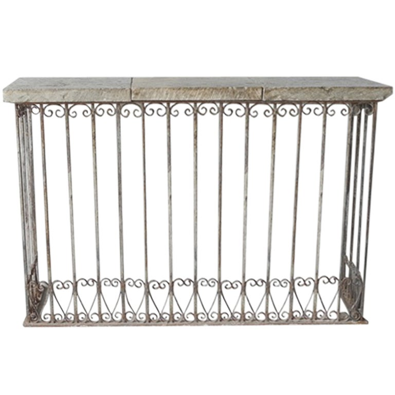 18th c iron balcony console with reclaimed stone top at for Balcony console