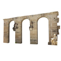 Reclaimed 19th Century Stone Ferry Station Wall from Mezes, France