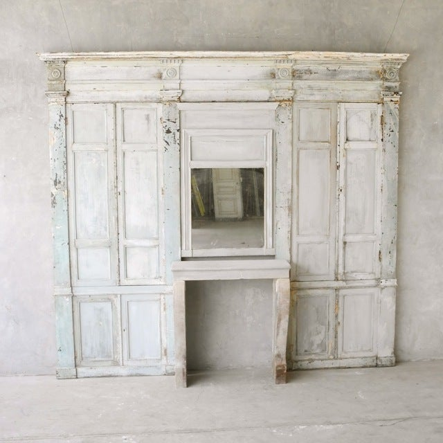 "Antique Reclaimed 19th Century ""Boiserie"" Wall with Fireplace 2"