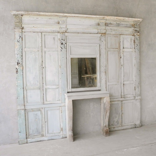 "Antique Reclaimed 19th Century ""Boiserie"" Wall with Fireplace 3"
