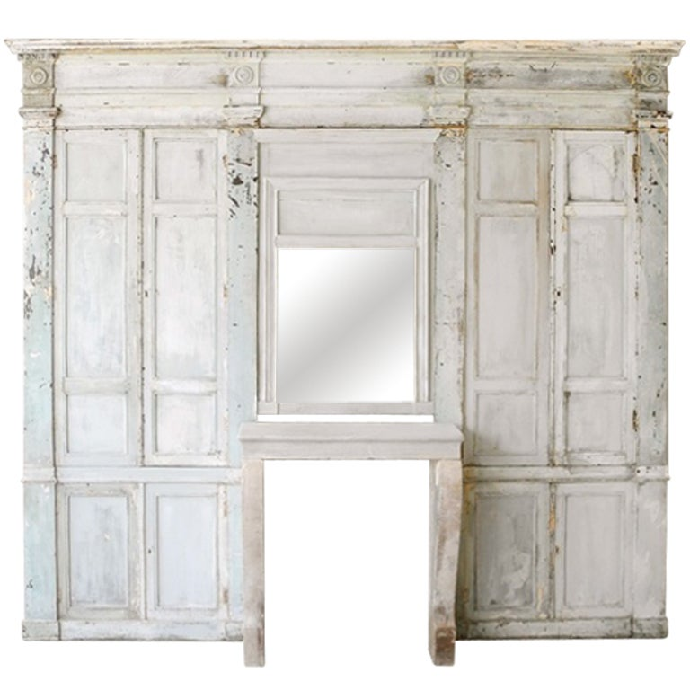"Antique Reclaimed 19th Century ""Boiserie"" Wall with Fireplace 1"