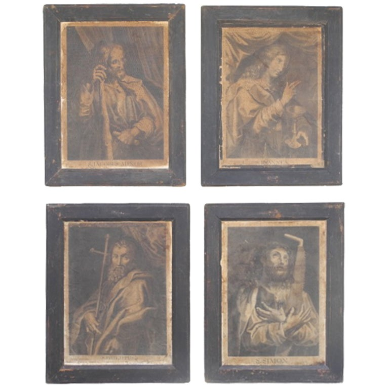 Antique Italian Engravings of Saints, circa 1800 1