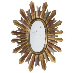 Silver and gold soleil mirror, c. 1960