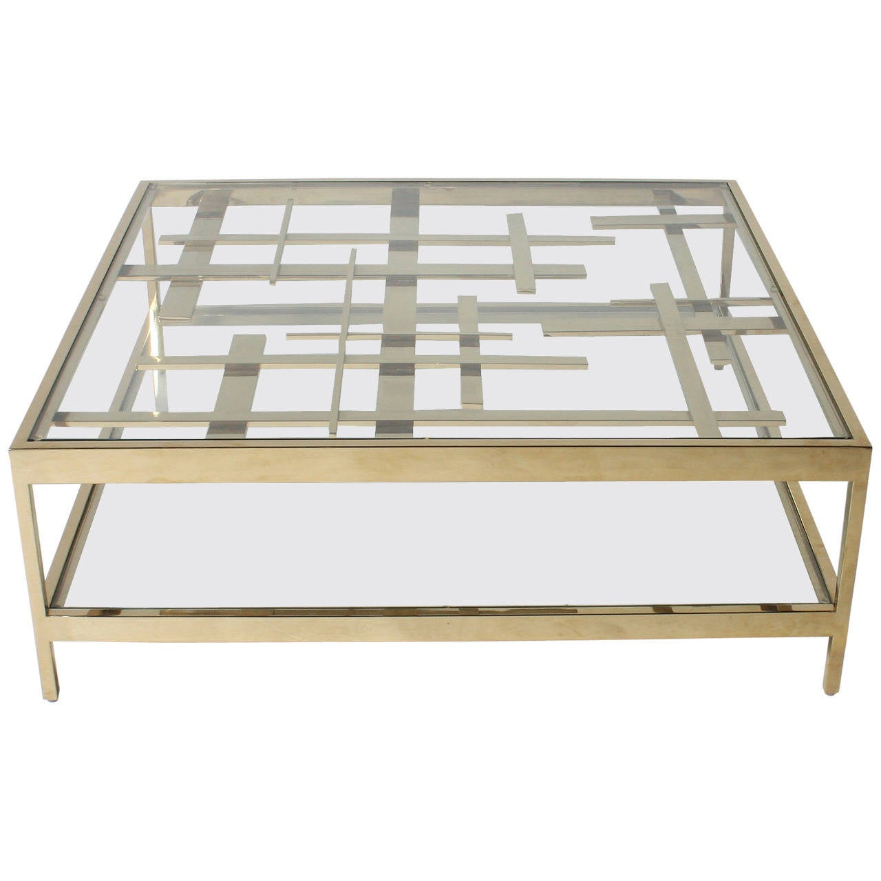 Coffee Table Inspired By Piet Mondrian In Brass C 1970 At