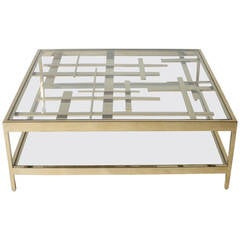 Coffee table inspired by Piet Mondrian in brass c. 1970