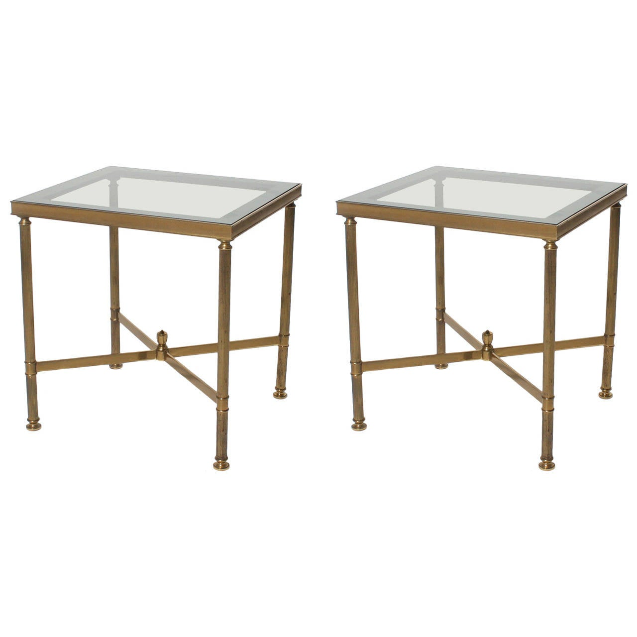 Pair Of French Bronze Tables With Blue Smoked Glass C