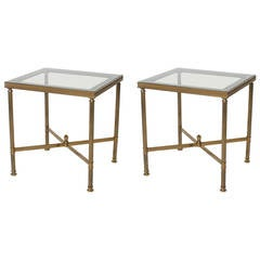 Pair of French bronze tables with blue smoked glass, c. 1940