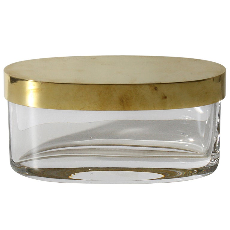 Oval Glass Jar With Bronze Top C 1950 At 1stdibs