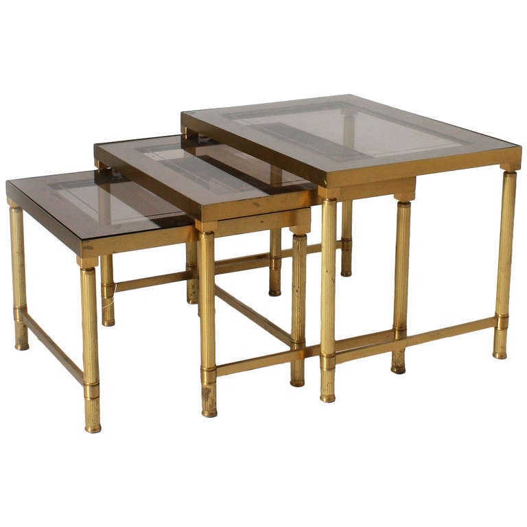 Small brass and smoked glass nest of tables with mirrored for Small nest of tables