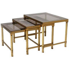 Small Brass and Smoked Glass Nest of Tables with Mirrored Edges circa 1950