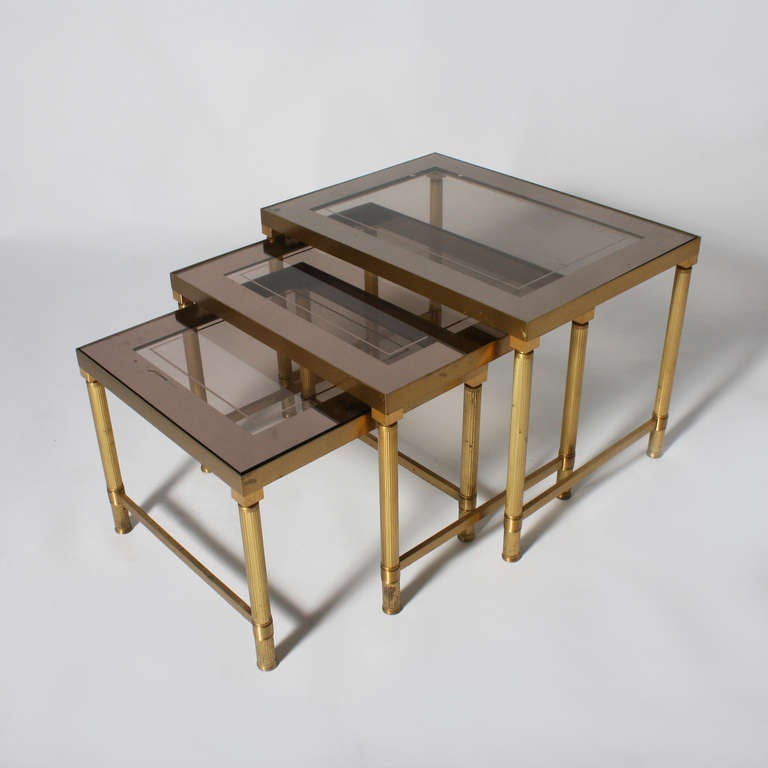 Small Brass And Smoked Glass Nest Of Tables With Mirrored