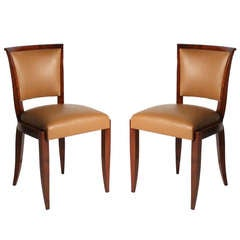 Pair of Art Deco Side Chairs in Leather, circa 1940