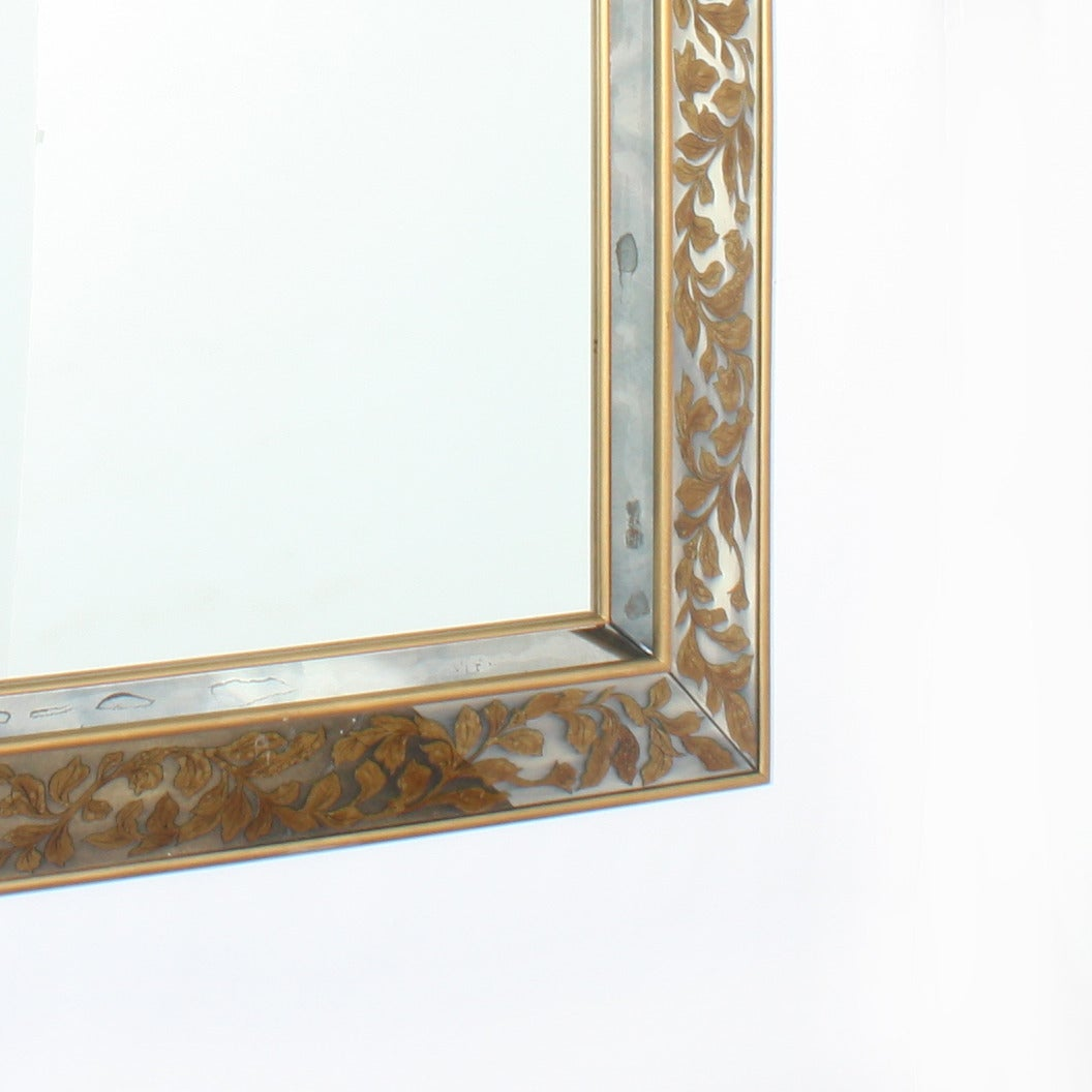 Large French Mirror with Gold Leaf Frame and Églomisé Leaves, circa ...