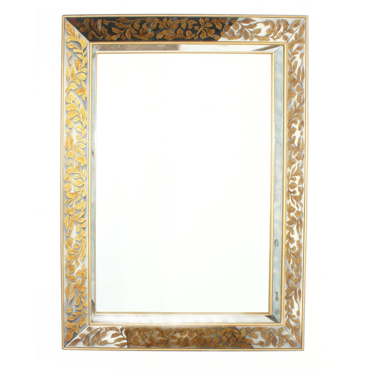 Large french mirror with gold leaf frame and glomis for Large a frame
