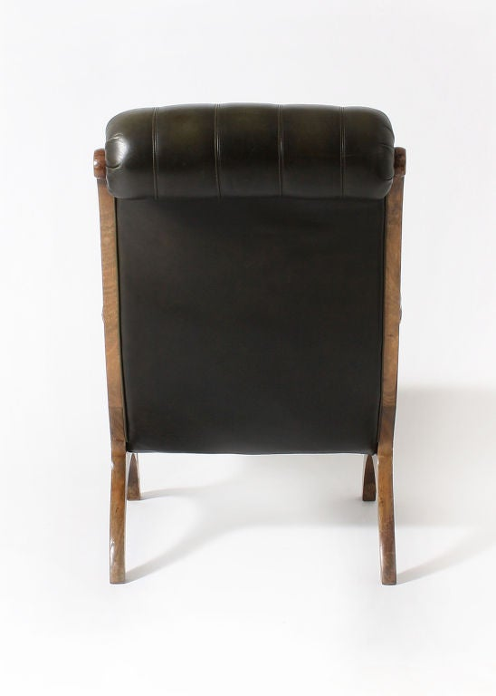 Pair of tufted library chairs in original green leather at 1stdibs - Library lounge chairs ...