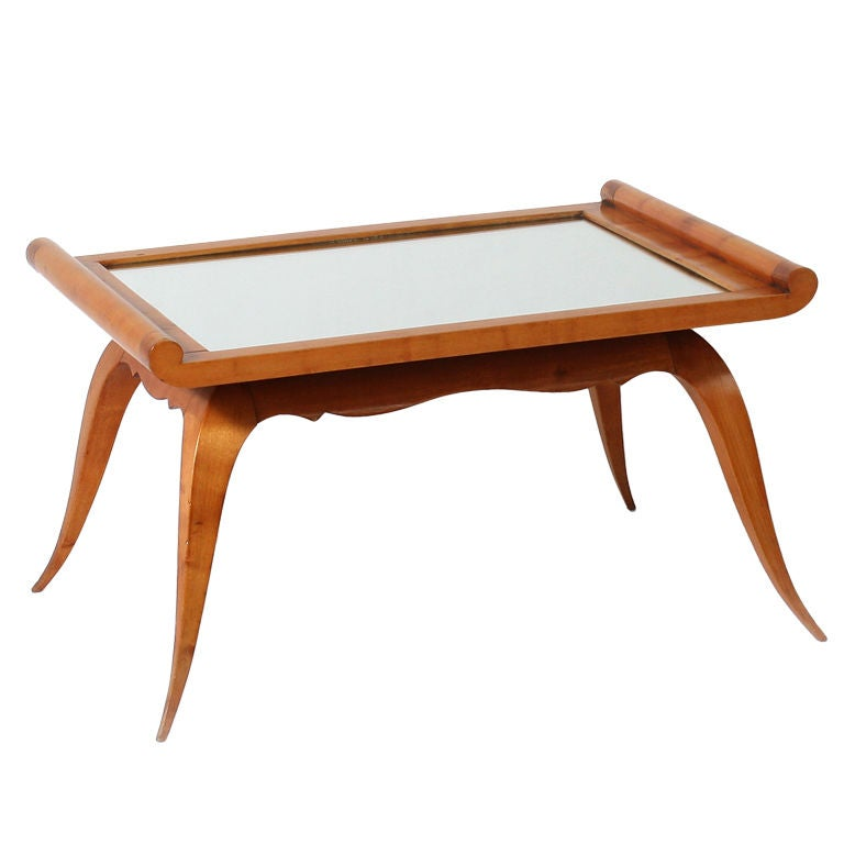 Merisier Coffee Table With Mirrored Top At 1stdibs