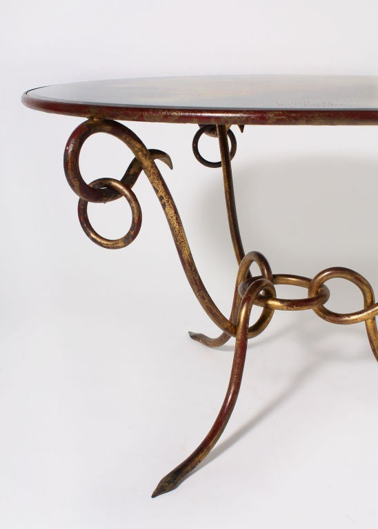 Hand forged gold leafed rene drouet coffee table at stdibs