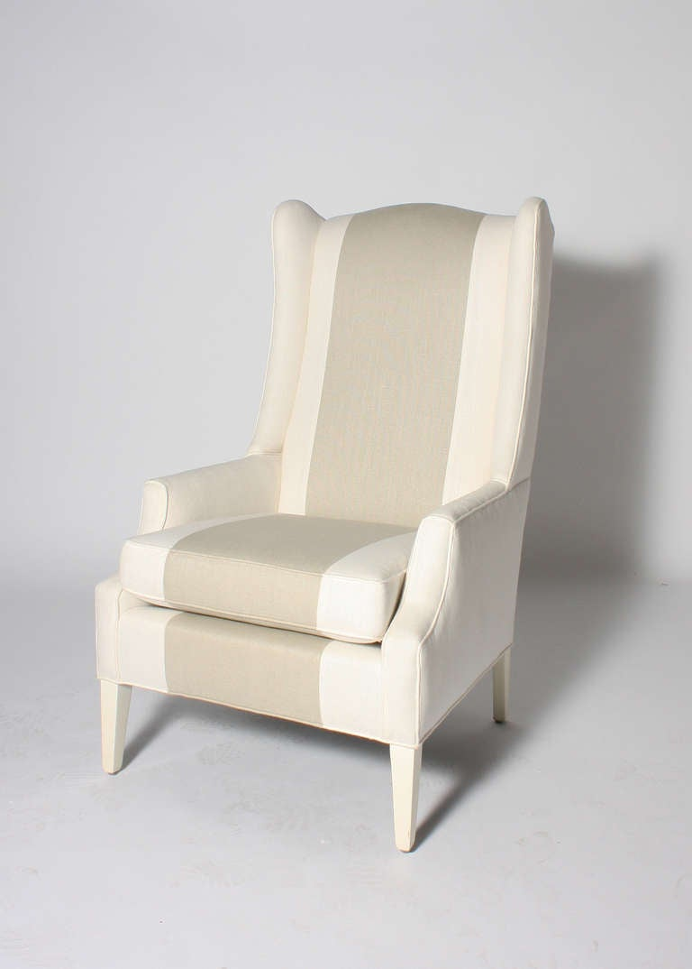 Italian Wingback Chair With Grey And White Striped Fabric