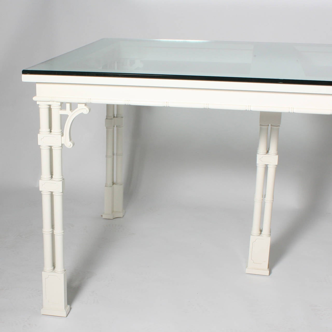Asian Dining Room Table: Faux Bamboo Asian Inspired Ivory Lacquered Dining Table