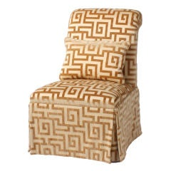 Slipper chair upholstered in Clarence House Greek Key fabric