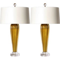 Pair of green Murano ribbed lamps