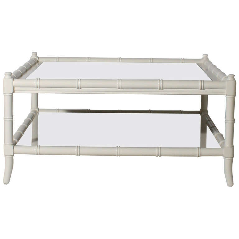 Thomasville Ivory Lacquer Faux Bamboo Coffee Table Circa