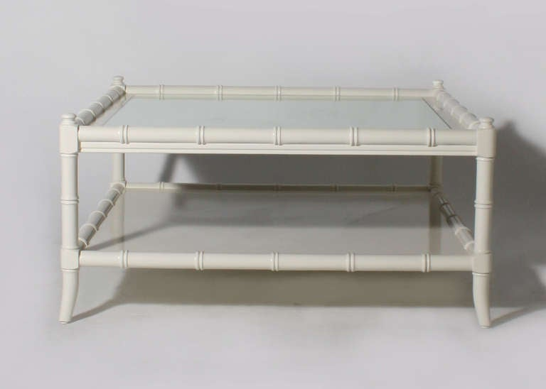 thomasville ivory lacquer faux bamboo coffee table circa 1960 at