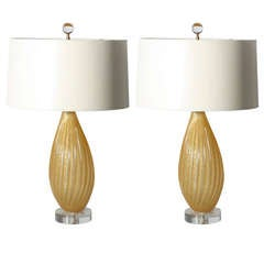 Pair Of Gold Ribbed Murano Lamps, C. 1950