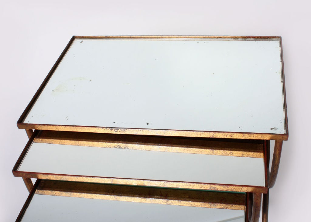 Set Of 3 Gold Leaf Nesting Tables With Mirrored Tops At 1stdibs