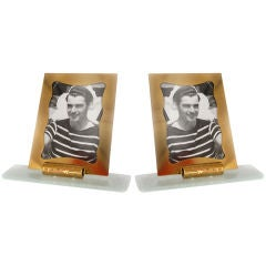 Pair of St. Gobain glass and brass frames
