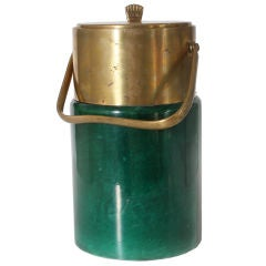 Green parchment Aldo Tura ice bucket with bronze detailing