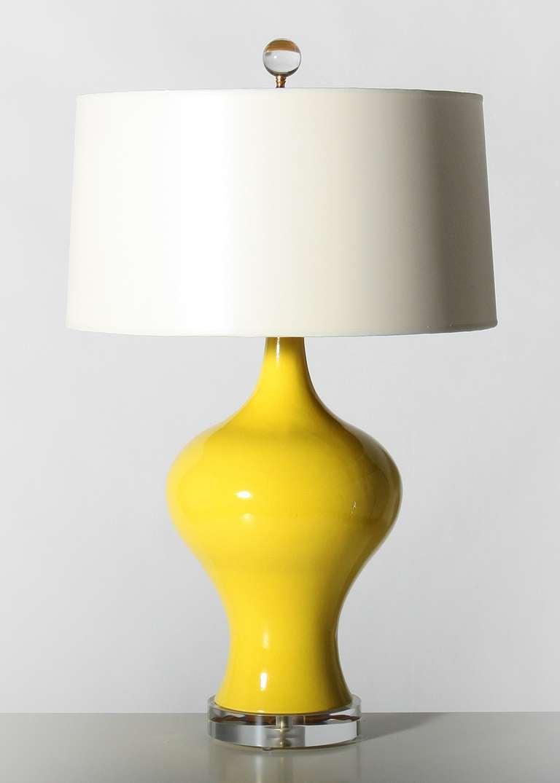 Pair of yellow glazed ceramic lamps