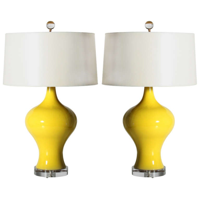 Pair Of Yellow Glazed Ceramic Lamps, C. 1960 For Sale