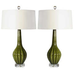 Pair Of Green Murano Lamps With Bubble Inclusions, C. 1950
