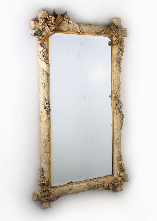 Napoleon III plaster framed mirror with garden motif at 1stdibs