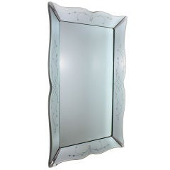 French mirrored framed mirror with chrome corners and etching
