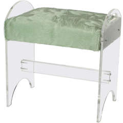 Lucite Bench with Cowhide, circa 1960
