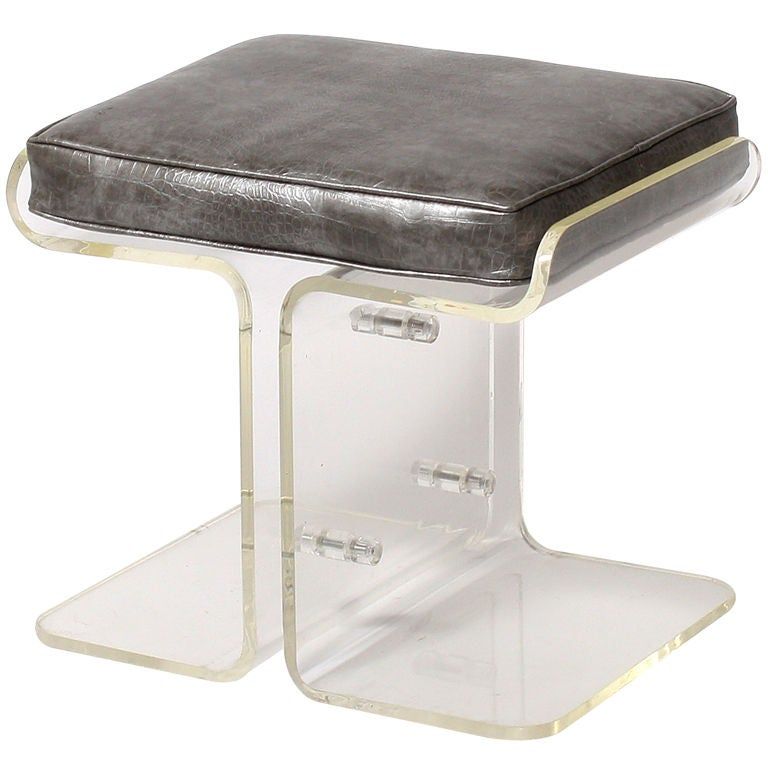 Lucite bench upholstered in silver faux crocodile