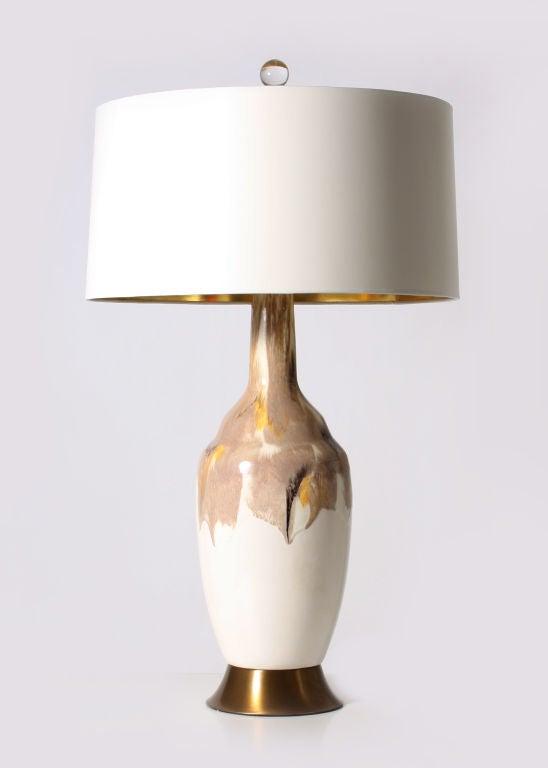 White ceramic eames era drip glaze lamp at 1stdibs for Eames lampe