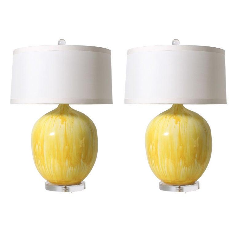 Pair of yellow ceramic drip glaze lamps at 1stdibs