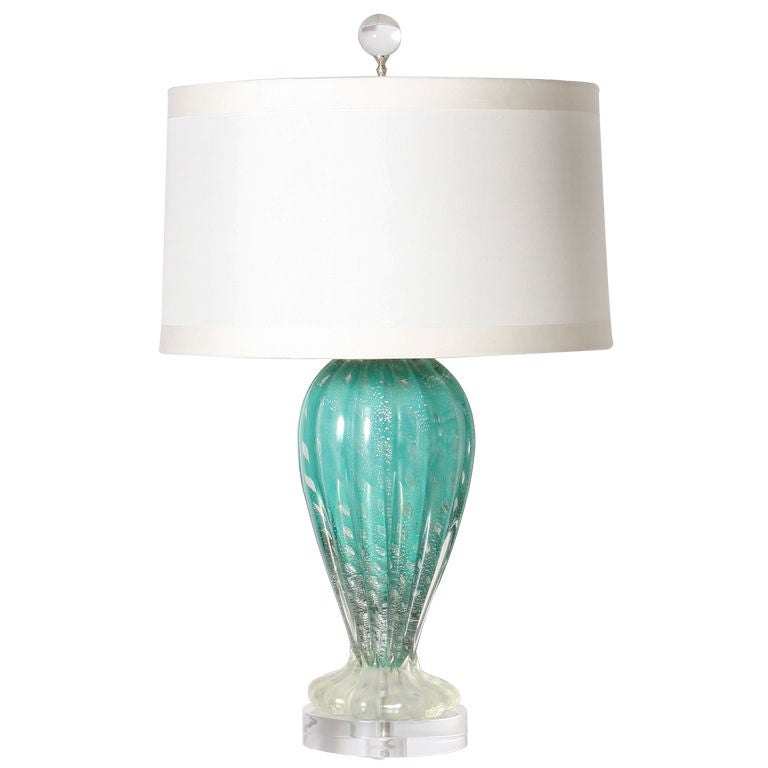 aqua murano glass lamp with silver inclusions at 1stdibs. Black Bedroom Furniture Sets. Home Design Ideas