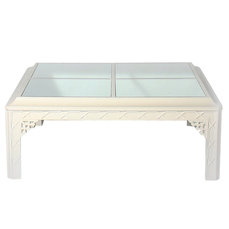 Ivory Fretwork Coffee Table With Mirror Top At 1stdibs