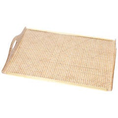 1970s Christian Dior Lucite Tray with Brass Galleries and Real Rattan Canework