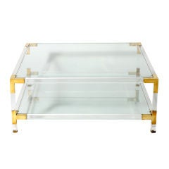 Bronze, Lucite & glass coffee table, c.1970
