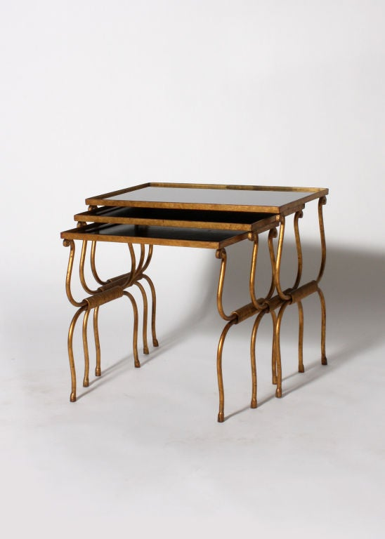 Set of bronze nesting tables with opaline glass tops c for Glass top nesting tables