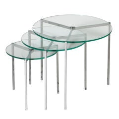 Danish Round nickel nest of tables with glass tops by Pol Kjench