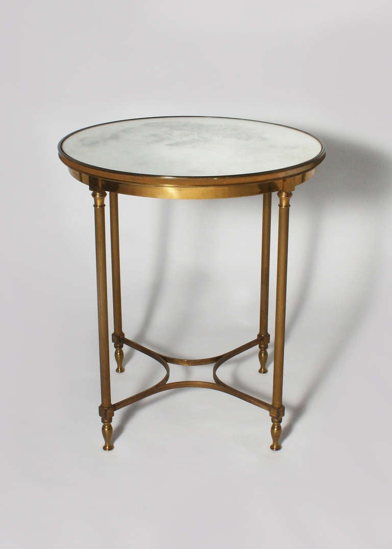 Round bronze lamp table with mirrored top c 1960 at 1stdibs for Table 52 oak brook