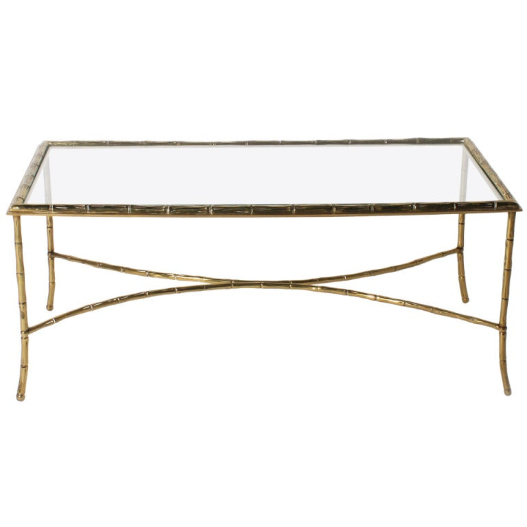 Bagues Bronze Faux Bamboo Coffee Table With Glass Top, C. 1950 1